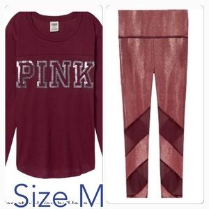 VS pink Bling Football long sleeve, Mesh Legging